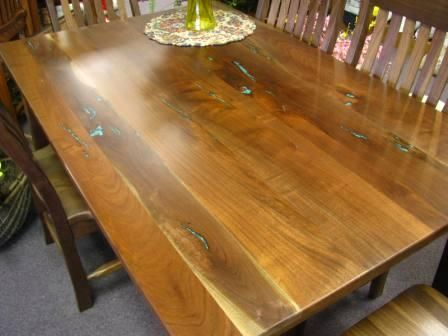 Custom Made Walnut Shaker Table With Chrysacola Inlays
