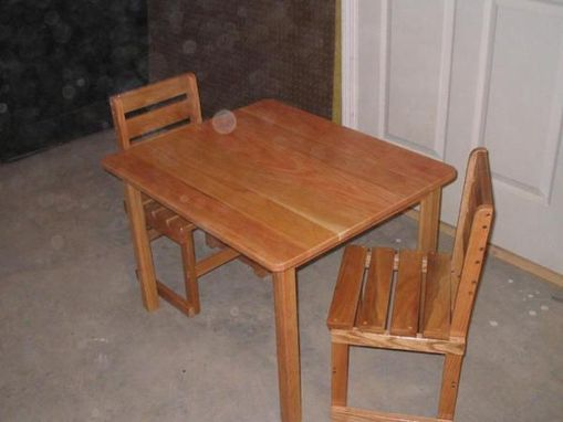 Custom Made Oak Kids Table And Chairs