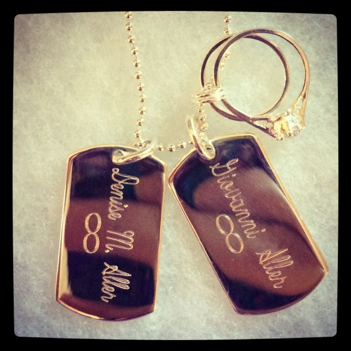 Handmade Custom Dog Tag Charm Necklace With Engagement