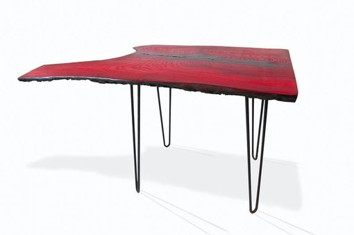 Custom Made Red And Black Hackberry Table On Hairpins