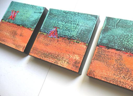 Custom Made Turquoise Acrylic Abstract Paintings Original Triptych On Canvas Sale