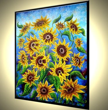 Custom Made Signed Pre-Stretched Giclee Print On Canvas Of Original Yellow Green Sunflower Painting - 24x18