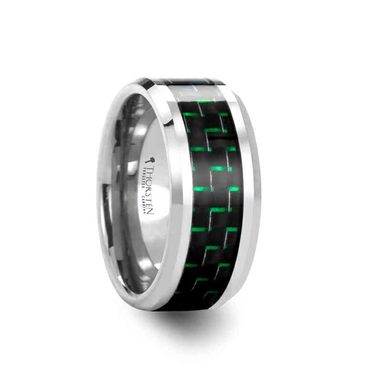 Custom Made Atronius Tungsten Carbide Ring With Black & Green Carbon Fiber Inlay - 6mm - 10mm