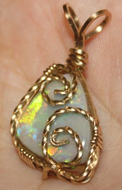 Custom Made Solid 7.45ct Lightning Ridge Black Opal Pendant, Wire Wrapped In 14kt Rolled Gold Wire