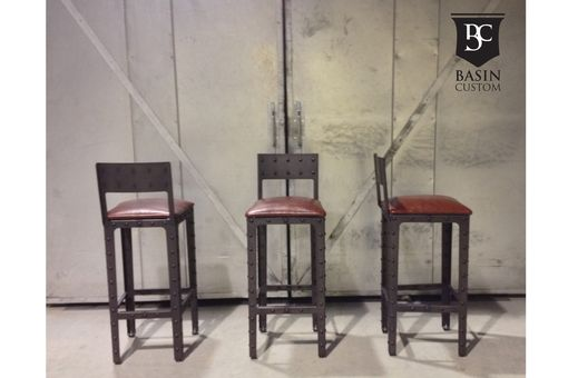 "Custom Made Custom 30"" Industrial Bar Stools With Back"