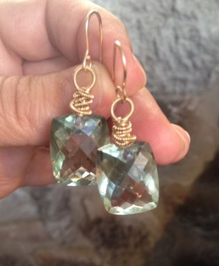 Custom Made Pale Green Amethyst And Sapphires Gold Filled Wire Earrings