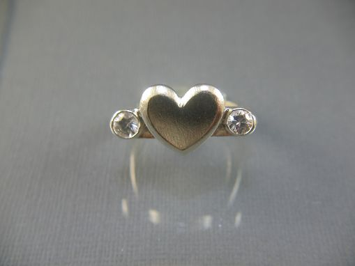 Custom Made Platinum Silver White Zircon Heart Ring