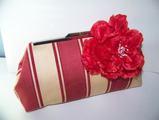 Custom Made Red/Claret Stripes Clutch Free Shipping