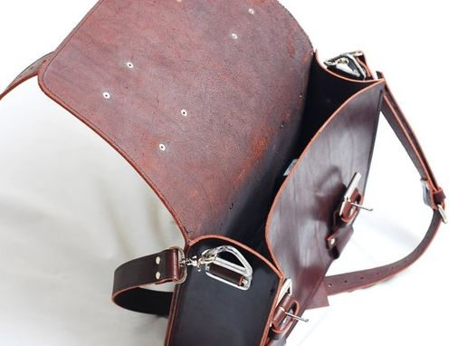 Custom Made Leather Portmanteau Bag, Computer Bag In Heavy Full Grain Limited Edition  Leather - Made In Usa