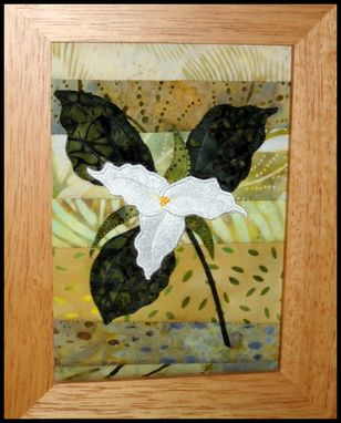 Custom Made Framed Quilted Trillium Wildflower Picture