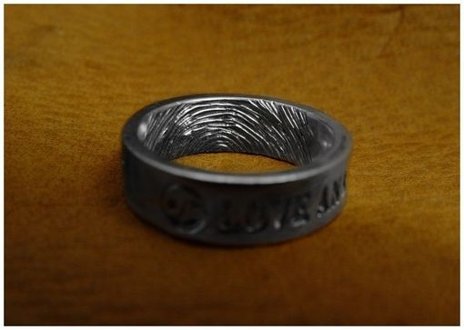 Custom Made Finger Print Handengraved Inside Of The Ring