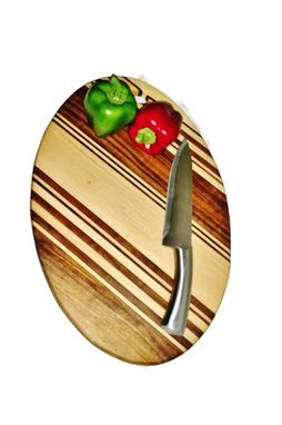 Custom Made Walnut And Hard Maple Large Oval Cutting Board