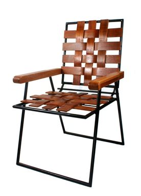 Custom Made Wooven Mahogany Chair