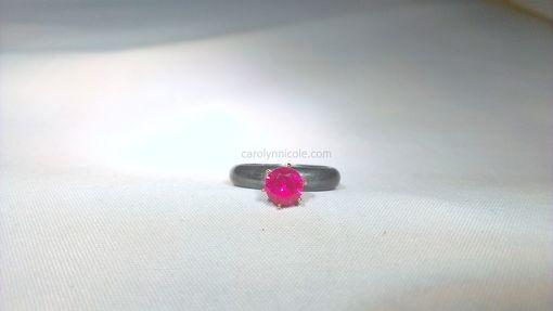 Custom Made Oxidized Silver And Ruby Engagement Ring