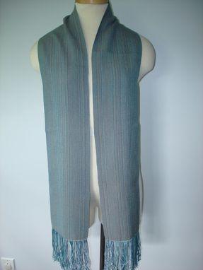 Custom Made Hand Woven Sepia Grey Silk Scarf