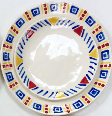 Custom Made Set Of Handmade Playful Plates, Ready To Ship