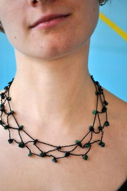Custom Made Black Mesh Necklace With Malachite