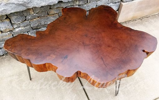 Custom Made Big Round Coffee Table- Live Edge Slab Table- Tree Round- Tree Cookie- Walnut Color- Elm