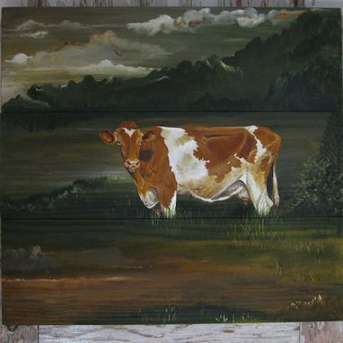 Custom Made Guernsey Cow Original Painting On Re-Purposed Wood