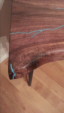 Custom Made Live Edge Walnut Table With Turquoise Inlay