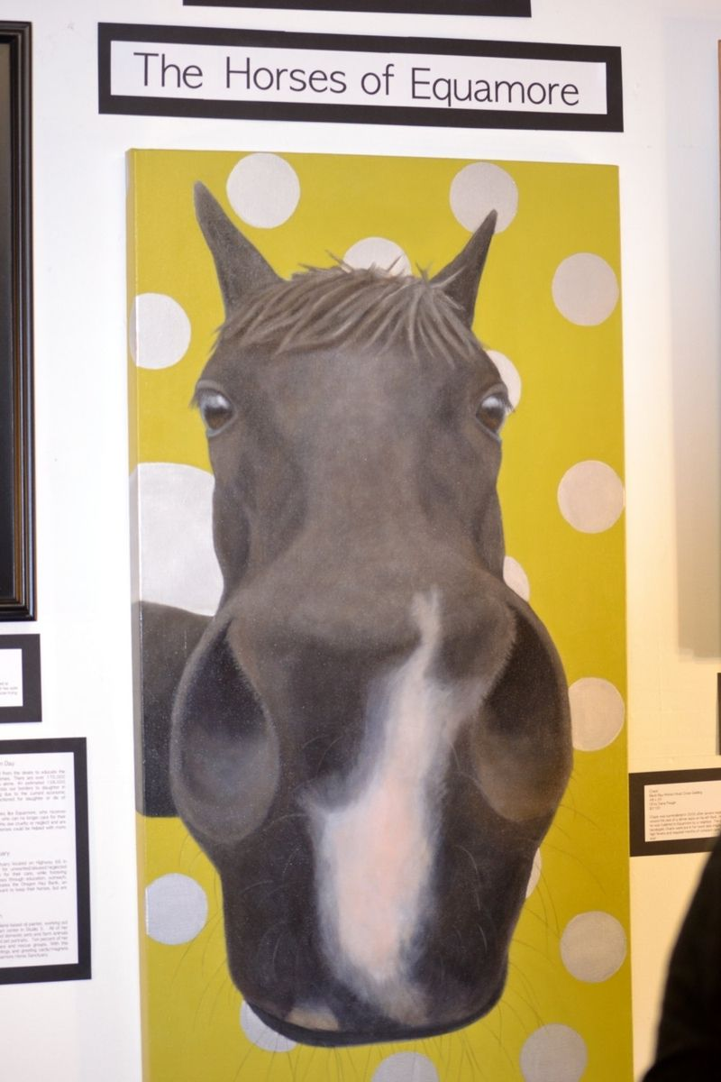 Hand Made Funny Horse Painting Large Black Horse
