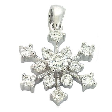 Custom Made Snow Flake Diamond Pendant