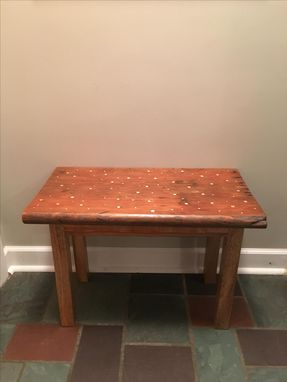 Custom Made Repurposed Church Pew Bench Inlayed With Brass And Copper