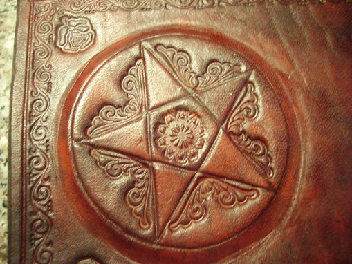 Custom Made Hand Tooled Leather Pentagram Blank Book - Book Of Shadows