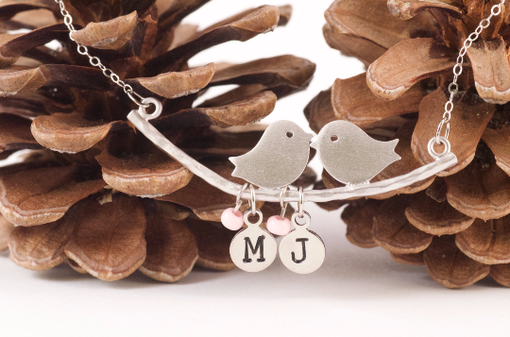 Custom Made Personalized Love Birds Necklace