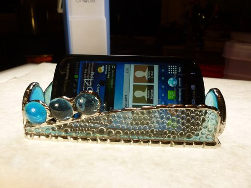 Custom Made Iridescent Blue Stained Glass Business Card Holder With Agate