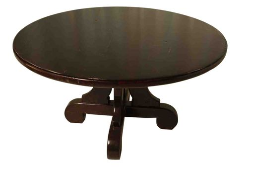 Custom Made Lourdes Trestle Round Dining Table Built In Reclaimed Wood