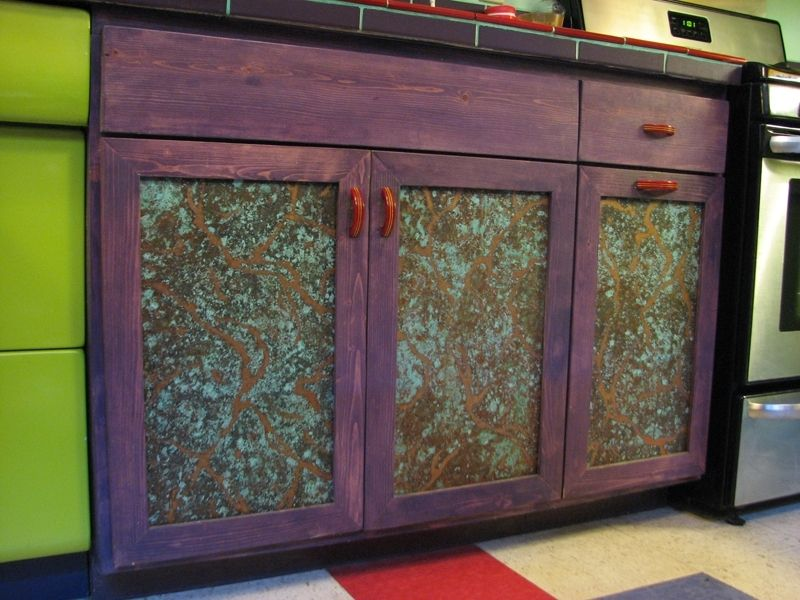 Custom made metal cabinet door panels by dale jenssen for Metal cabinet doors kitchen