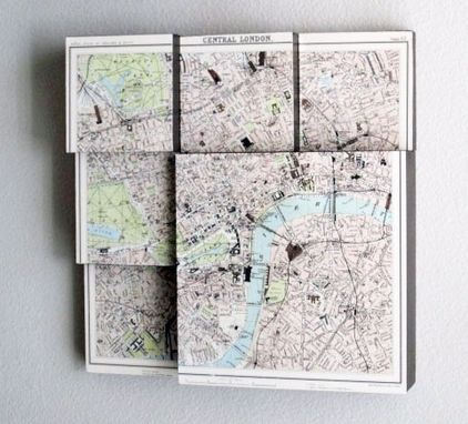 Custom Made London Map 3d Art Collage