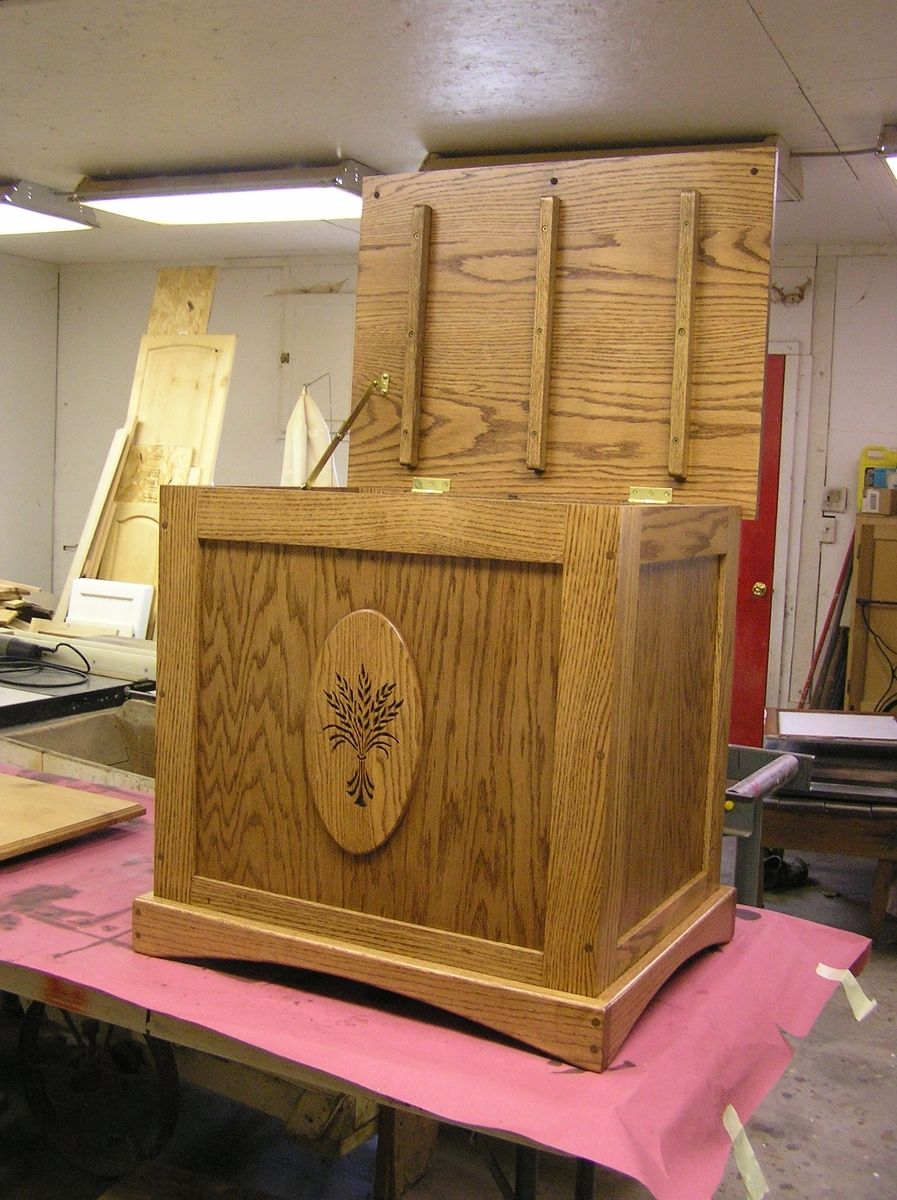 Hand Made Oak Quilt Storage Chest With Wheat Motif By New