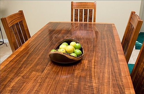 Hawaiian Curly Koa Dining Table And Chair