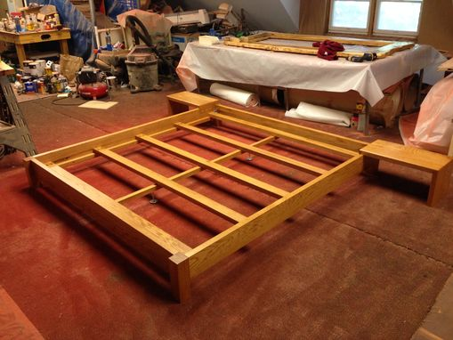 Custom Made Oak King Size Platform Bed.