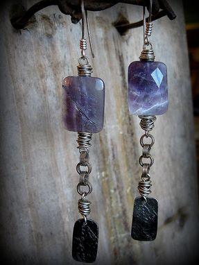 Custom Made Purple Faceted Amethyst And Etched Silver Metal Chain Earrings
