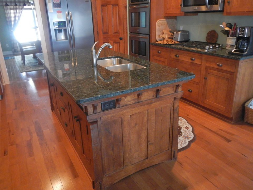 Handmade arts and crafts style kitchen island by paul 39 s for Custom made kitchen islands