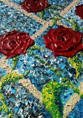 Custom Made Original Abstract Red Roses Floral Landscape Impasto Garden Impressionist Textured Framed Painting