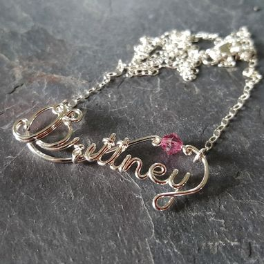 Custom Made Custom Personalized Birthstone Word Name Necklace In Sterling Silver And Sworovski Crystals