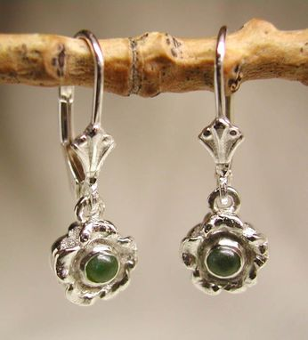 Custom Made Sterling Silver Forget-Me-Not & Jade Lever Back