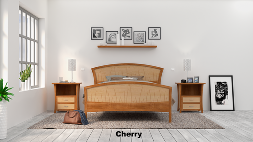 Custom Made Modern Bed Frame, Walnut Headboard, Wood Bed, King Size Bed, Queen, Art Deco,