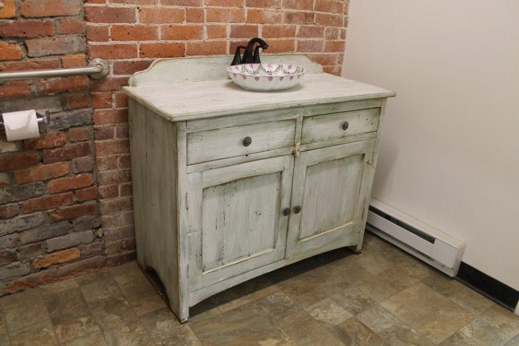 Custom Made Painted Bathroom Vanity From Reclaimed Barn Wood