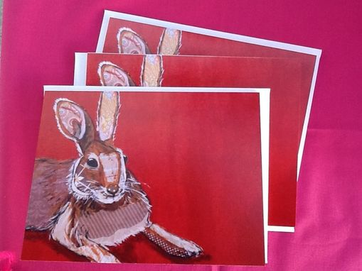 Custom Made Brown Collage Hare On Red Notecard Set