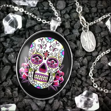 Custom Made Large Pink Day Of The Dead Sterling Silver Pendant Necklace 58-Slopn