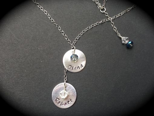 Custom Made Hand-Stamped Sterling Silver And Crystal Necklace