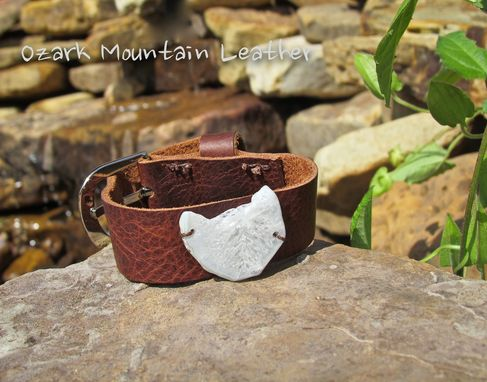 Custom Made Leather Bracelet With White Stone