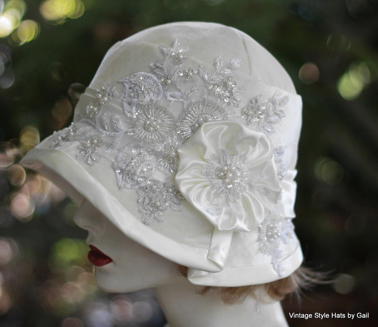 Buy Hand Made 1920s Great Gatsby Wedding Party Cloche Hat In White Velvet  Lace Pearls And Sequins d7269c6cc76