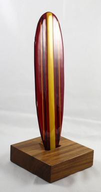 Custom Made Red Glass Longboard On Teak Base