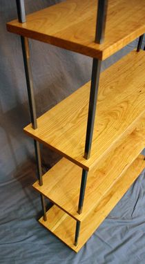 Custom Made Modern Cherry And Steel Bookcase